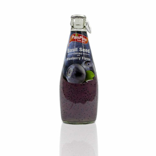 Fruit drink with basil-flavored seeds and blueberries