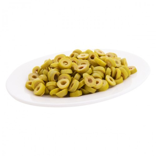 Sliced ??green olives from Greece